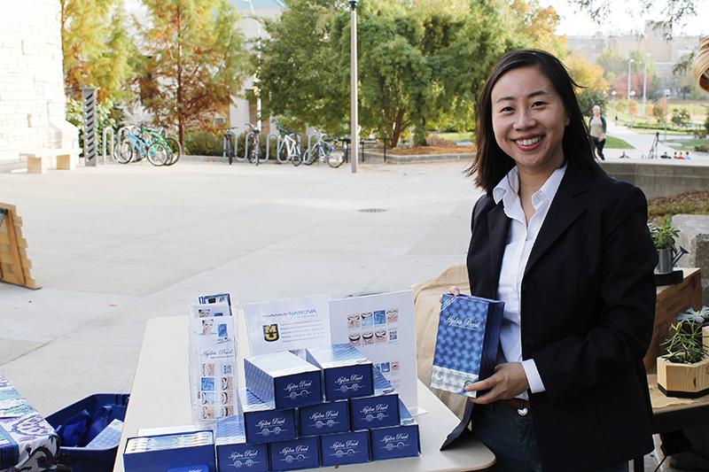 Yi Gan is showcasing Hydra Pearl Teeth Whitening kit at The Bridge